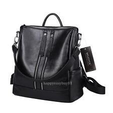 Fashion Women PU Leather Classic Zipper Backpack Chic Preppy School Shoulder Bag