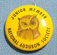 "Vintage Junior Member National Audubon Society Owl 1"" Litho Pin Made in USA"