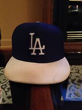 New Era Los Angeles LA Dodgers 59Fifty BP Fitted Cap Hat Size 7 Blue USED