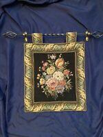 "Vintage Metrax Floral Wall Tapestry Made in Belgium Measures 18.5"" x 16.5"""