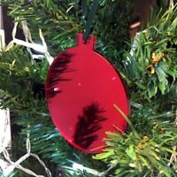 Red Mirror Bauble Shaped Christmas Tree Decorations, With Green Ribbon, Pack 10