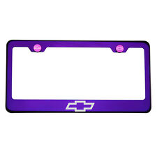 Purple Chrome Laser Etched Chevrolet Logo License Plate Frame Stainless Steel