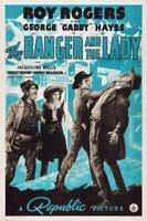 OLD LARGE ROY ROGERS COWBOY MOVIE POSTER, The Ranger And The Lady 1940