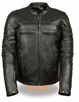 Mens Black Leather Sporty Crossover Jacket with Reflective Piping & Vents