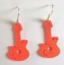 Boucles d'oreilles argentées guitare en bois orange