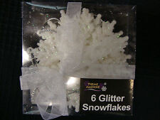 6 x White Snowflake Glitter christmas Tree Hanging Decorations FREE P&P