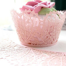 Pink Love Heart Leaf Cupcake Wrappers Wraps Cake Xmas Wedding Party Decorate GSM