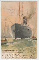 "[68196] 1904 POSTCARD RED STAR LINE TWIN SCREW MAILSTEAMER ""FINLAND"""