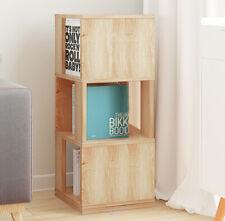 Rotate Corner Bookcase Shelf 3 Cube Storage Rotation Bookshelf Free Standing UK