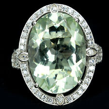 REAL GEM OVAL 18x13mm GREEN AMETHYST SOLITAIRE & CZ ACCENTS 925 SILVER RING8.75