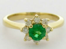 R087 Genuine 9ct Gold NATURAL Emerald & Diamond Engagement Cluster Ring size N