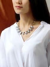 Collar Corto Art Deco Turquesa Blanco Cristal Retro AZ 2