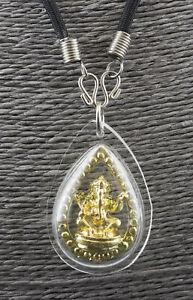 Pikanet Necklace Pendant Amulet Thai Ganesh Golden Elephant Deity Talisman 1742