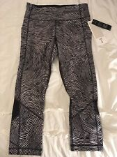 Lululemon Seawheeze Pace Rival Crop Black White  Size 6