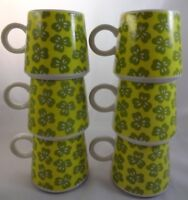 Vintage 1970s 6 Mug Set Green Yellow Flowers Hippie Era Loop Handles Stackable