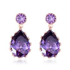 Women's Fashion Amethyst Pear Cut Drop Dangle Earrings Rose Gold Filled Jewelry