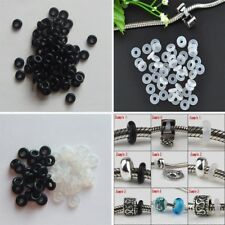 30/60/120pcs Rubber Silicone Stopper Ring Beads Charms European Fit Bracelets