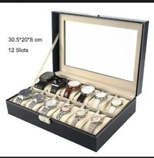 12 Grids Watch Display Case Leather Box Jewelry Collection Storage Organizer