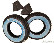 "SAVA MITAS 3 50 8 VESPA J SPEED RATED 100KM TYRE WHITEWALL X 2 VBB 8"" TUBES"