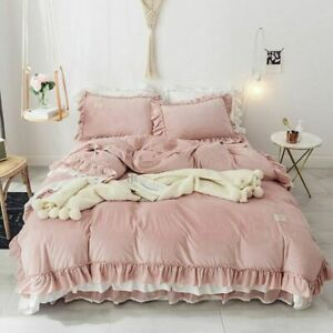 4Pcs New Crystal Bedding Sets Duvet Cover Bed Skirt Set Pillowcase Bedclothes