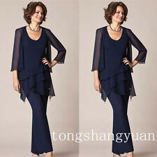 Chiffon Mother Of Bride Pants Suits 3/4 Sleeve Jacket Jewel Neck Dress Plus Size