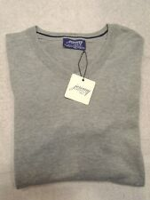 Jeremy Argyle Cotton Blend Light Gray  V-neck Sweater NWT Medium $128