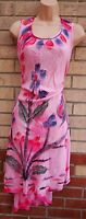 DYE PINK FLORAL EMBROIDERED BEACH TUNIC SMOCK CAMI BAGGY SUMMER DRESS L XL