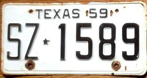 1959 Texas License Plate Number Tag - $2.99 Start