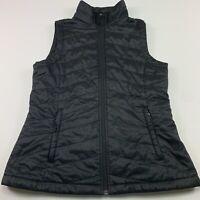 Columbia Omni Heat Womens M Black Full Zip Puffer Vest Pockets Lightweight EUC