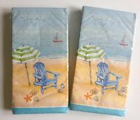 Beach Umbrella Chair Guest Hand Towels Paper Napkins Summer House 20 pk Set of 2
