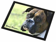 """Brindle and White Boxer Dog """"Yours Forever..."""" Black Rim Glass Placem, AD-B27yGP"""