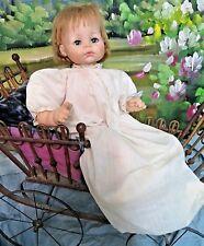 Original ANTIQUE Victorian era BABY Christening GOWN long doll dress COTTON Lace