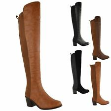 WOMENS LADIES OVER THE KNEE THIGH HIGH STRETCH PULL ON LOW MID HEEL BOOTS SHOES