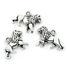Packet 5 x Antique Silver Tibetan 21mm Lion Charm/Pendant ZX05430