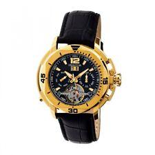 Heritor Automatic Lennon Men's Semi-Skeleton Black Leather Gold Watch HR2804