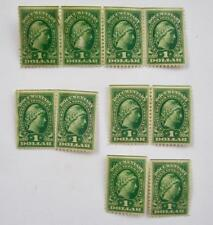 Lot 10 US Revenue Stamps R240 1917-33 Documentary Green $1 Liberty Gummed Unused