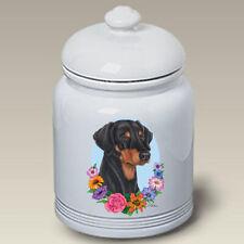 Uncropped Black and Tan Doberman Pinscher Ceramic Treat Jar Tp 47186