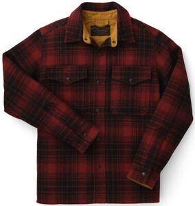 Filson Mackinaw Jac Shirt Oxblood & Black Plaid, Men's S NWT MSRP $350