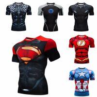 Superhero Superman 3D Print GYM Funny Men T-shirt Tee Compression Short Sleeve