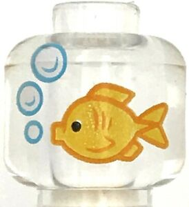 Lego New Trans-Clear Minifigure Fish Tank Bubbles Goldfish Aquarium Pattern