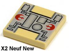 Lego Star Wars 2 Plaques lisses 2x2 beiges Tan tile Rebel Mechanical Pattern NEW