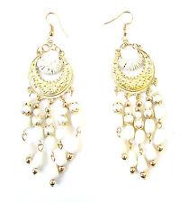 White & Gold Drop Bead Earrings 1920s Flapper Great Gatsby Chandelier Vtg 1058