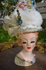 Vintage Lady Head Vase Bottle Brush Tree design/sculpt w/Snowman  Lefton #2148