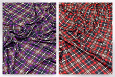 Plaid Check Print Stretch Jersey Knit Dress Fabric (EM-1174-Purple-M)