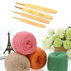 FLAT EASY TO HOLD CARBONIZED BAMBOO SOFT HANDLE CROCHET HOOK
