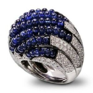 Sapphire Beads & CZ Dome Shape Dinner Ring Solid 925 Sterling Silver Handmade