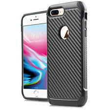 FOR APPLE IPHONE 8 PLUS BLACK CARBON FIBER IMPACT SHIELD RUGGED CASE COVER