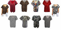 Womens T Shirt Ladies Oversized Baggy Plus Size Top Loose V Neck Turn Up Batwing