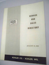 Kohler Engines Service & Sales Directory August 15, 1966 Excellent Condition