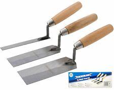 Silverline 3pc Margin Trowel Set Wooden Handle Plasterers Corner Plastering Tool
